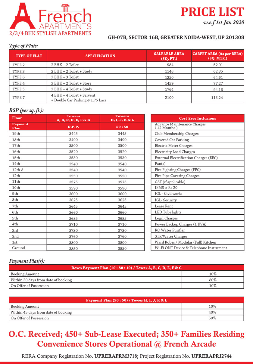 French Apartments Price List