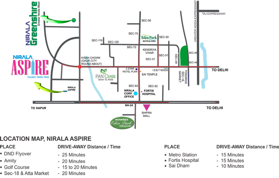 Nirala Aspire Location Map
